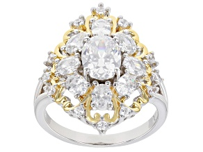 Pre-Owned White Cubic Zirconia Rhodium And 14K Yellow Gold Over Sterling Silver Ring 4.30ctw