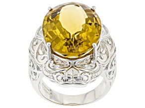 Pre-Owned Yellow Citrine Rhodium Over Brass Ring 15.00ctw