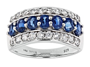 Pre-Owned Blue Kyanite Rhodium Over Sterling Silver Ring. 2.54ctw