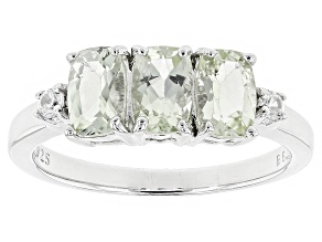 Pre-Owned Green Ambligonite Sterling Silver 3-Stone Ring 1.37ctw