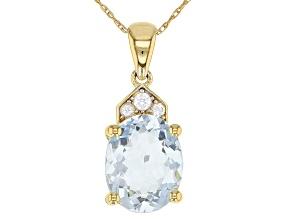Pre-Owned Blue Aquamarine 10k Gold Pendant With Chain 2.06ctw