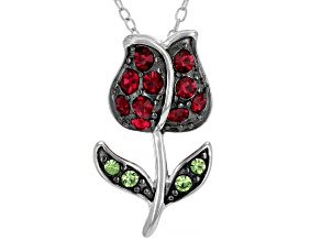 Pre-Owned Red And Green Crystal Rhodium Over Sterling Silver Rose Pendant With Chain