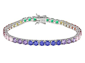 Pre-Owned Lab Created Ruby, Green Crystal, And Multi Colored Cubic Zirconia Rhodium Over Silver Brac