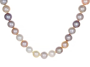 Pre-Owned Multi-Color Cultured Freshwater Pearl Rhodium Over Sterling Silver 32 Inch Strand Necklace