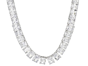 Pre-Owned White Cubic Zirconia Rhodium Over Sterling Silver Necklace 146.40ctw
