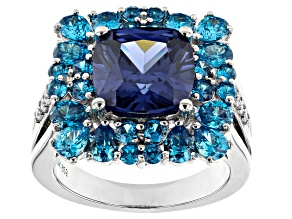 Pre-Owned Blue And White Cubic Zirconia Rhodium Over Sterling Silver Ring 12.00ctw
