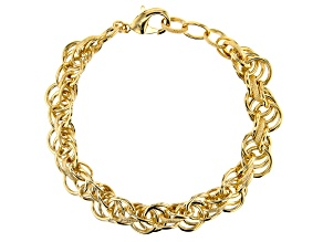 Pre-Owned 18k Yellow Gold Over Bronze Rope Mixed Texture Link Bracelet 8.5 Inches
