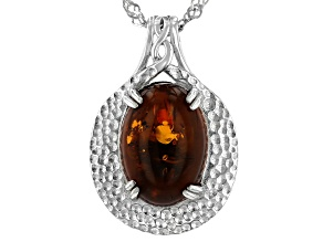 Pre-Owned Orange Amber Rhodium Over Sterling Silver Solitaire Pendant With Chain