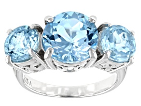 Pre-Owned Sky Blue Topaz Rhodium Over Sterling Silver 3- Stone Ring 7.00ctw
