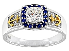 Pre-Owned Fabulite Strontium Titanate And Blue Sapphire Rhodium Over Silver Two Tone Mens Ring 1.78c