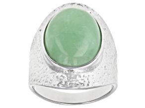 Pre-Owned Jadeite Rhodium Over Sterling Silver Textured Ring