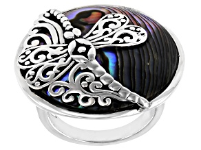 Pre-Owned Pacific Style™ 25mm Round Abalone Shell with Dragonfly Rhodium Over Sterling Silver Ring