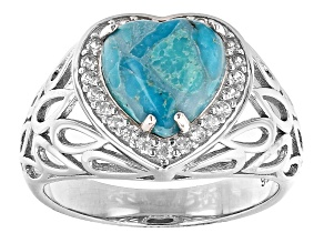 Pre-Owned Blue Turquoise Rhodium Over Sterling Silver Heart Ring 0.27ctw