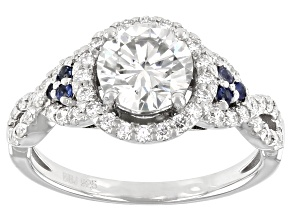 Pre-Owned Moissanite And Blue Sapphire Platineve Ring 1.66ctw DEW.