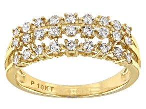Pre-Owned White Diamond 10K Yellow Gold Multi-Row Band Ring 0.50ctw