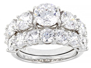 Pre-Owned White Cubic Zirconia Rhodium Over Sterling Silver 7 Stone Anniversary Ring Set 8.93ctw