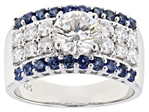 Pre-Owned Moissanite And Blue Sapphire Platineve ring 2.04ctw DEW.