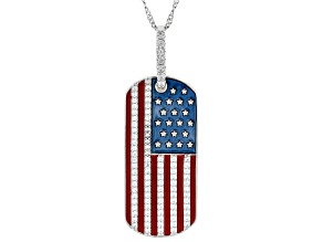 Pre-Owned White Cubic Zirconia Rhodium Over Sterling Silver Flag Pendant With Chain 1.06ctw
