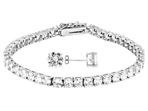 Pre-Owned White Cubic Zirconia Rhodium Over Sterling Silver Bracelet And Earring Set 22.92ctw