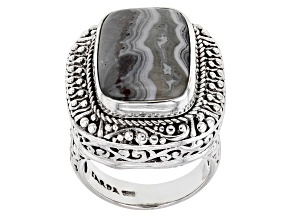 Pre-Owned Multi-Color Crazy Lace Agate Silver Ring