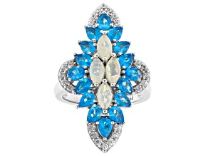 Pre-Owned Multi-color Opal Rhodium Over Silver Ring 3.19ctw