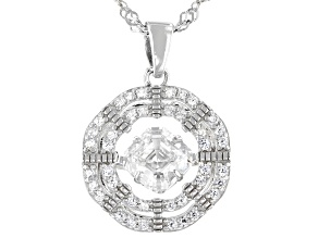 Pre-Owned White Cubic Zirconia Rhodium Over Sterling Silver Dancing Asscher Cut Pendant With Chain 1