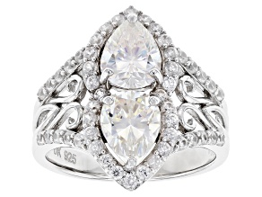 Pre-Owned Fabulite Strontium Titanate and white zircon rhodium over silver ring 3.65ctw.