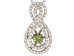 Pre-Owned Green Dancing Demantoid Garnet Silver Pendant With Chain .58ctw