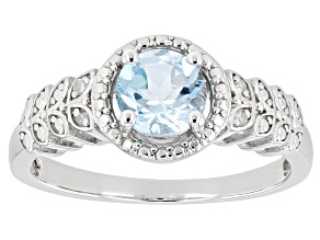 Pre-Owned Sky Blue Topaz Rhodium Over Sterling Silver Ring .96ctw