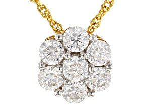 Pre-Owned Moissanite 14k Yellow Gold Over Sterling Silver Pendant 1.12ct DEW.
