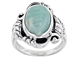 Pre-Owned Oval Amazonite Sterling Silver Ring