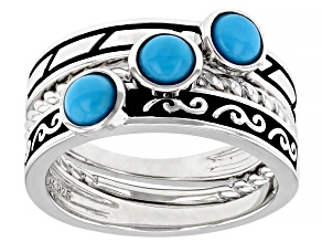 Pre-Owned Sleeping Beauty Turquoise Rhodium Over Sterling Silver Set of 3 Rings