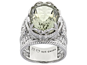 Pre-Owned Green Prasiolite Rhodium Over Sterling Silver Ring. 8.55ctw