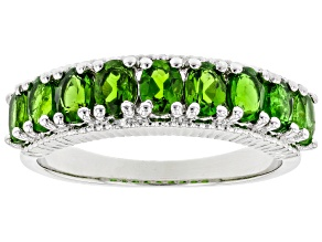 Pre-Owned Green Chrome Diopside Rhodium Over Sterling Silver Band Ring 1.38ctw