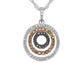 Pre-Owned Champagne, White, And Black Diamond Circle Pendant With Chain 0.50ctw