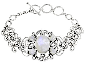 Pre-Owned White Rainbow Moonstone Rhodium Over Sterling Silver Bracelet 1.02ctw
