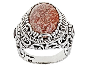 Pre-Owned Brecciated Jasper And Garnet Silver Ring .44ctw