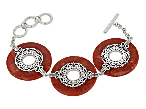 Pre-Owned Red Coral Rhodium Over Silver Bracelet