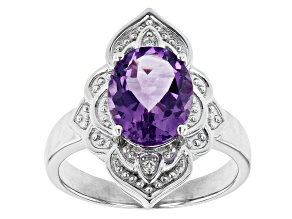 Pre-Owned Amethyst Rhodium Over Sterling Silver Ring 1.98ctw