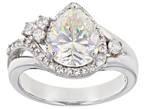 Pre-Owned Fabulite Strontium Titanate and white zircon rhodium over sterling silver ring 3.65ctw.