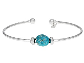 Pre-Owned Blue Sleeping Beauty Turquoise Silver Cuff Bracelet