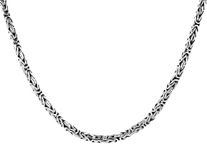Pre-Owned Sterling Silver 3mm Byzantine Necklace
