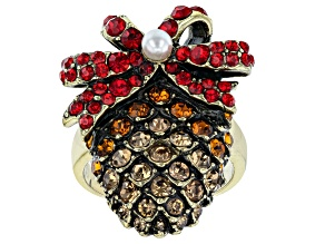 Pre-Owned  Antiqued Bronze Tone with Red Crystal Pine cone Ring
