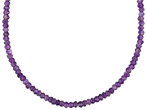 Pre-Owned Womens Faceted Bead Necklace Purple Amethyst 60ctw Sterling Silver