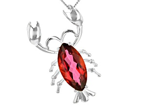 Pre-Owned Red Moonlit fire(TM) mystic topaz(R) silver pendant with chain 2.85ct