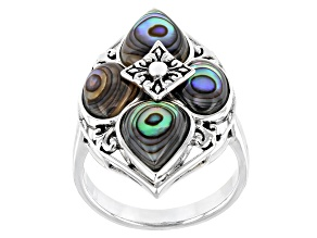 Pre-Owned Multicolor Abalone Shell Rhodium Over Sterling Silver Ring