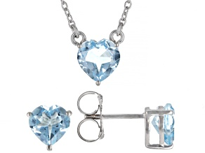 Pre-Owned Blue Topaz Rhodium Over Sterling Silver Heart Necklace And Earrings Set 6.45ctw