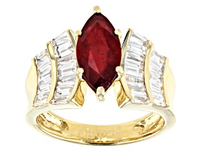 Pre-Owned Red Mahaleo® Ruby 10k Yellow Gold Ring 4.02ctw