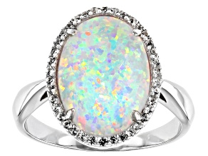 Pre-Owned Multicolor Lab Created Opal Rhodium Over Sterling Silver Ring 0.19ctw