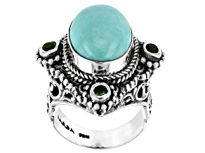 Pre-Owned Blue Turquoise Sterling Silver Ring .24ctw